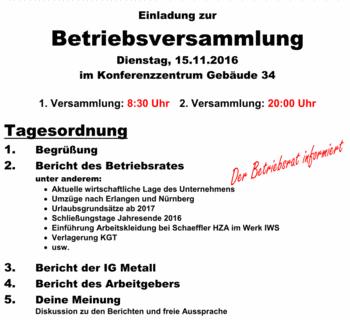 schaeffler-nachrichten der ig metall: hza: betriebsversammlung, Einladung