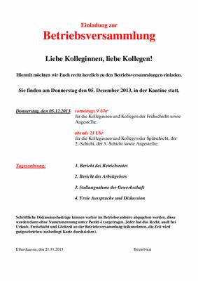 schaeffler-nachrichten der ig metall: betriebsversammlung in, Einladung